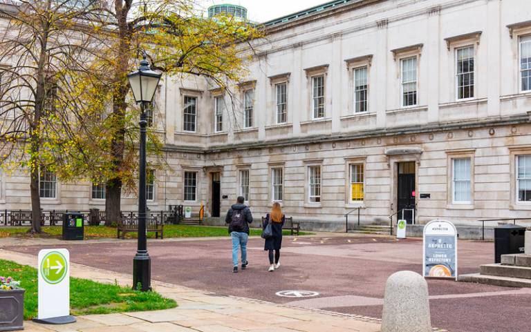 UCL quad with social distancing signage