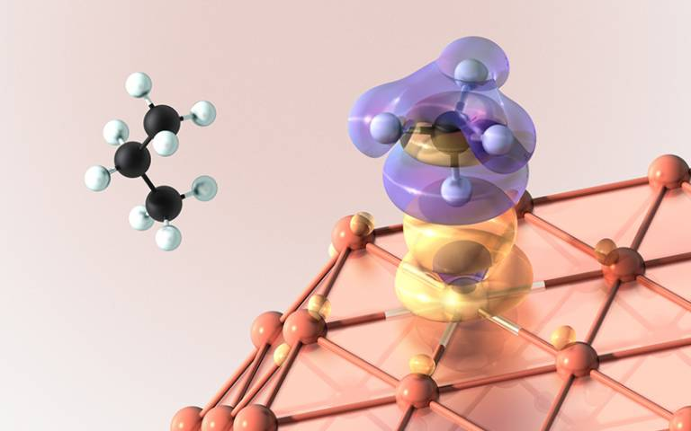 Artistic rendering of a first-principles calculation by a supercomputer, demonstrating a weakening of the carbon-hydrogen bond in methane (also crucial in the conversion of propane to propylene), as the molecule approaches the novel single-atom alloy cata