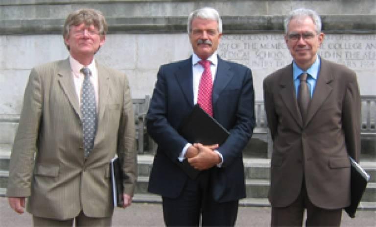 Professor Gabriel Ruget, Professor Malcolm Grant and Professor Gilbert Béréziat