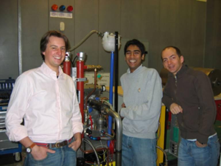 Zane Van Romunde, Rishin Patel and Paul Loustalan from the 'Scrapheap Challenge' team