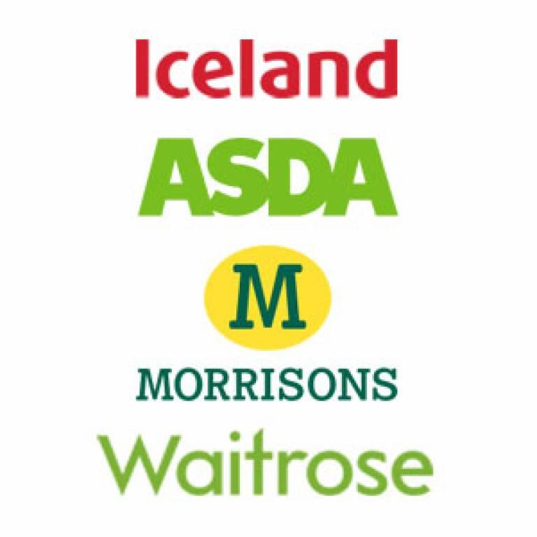 Iceland, Asda, Morrisons and Waitrose logos