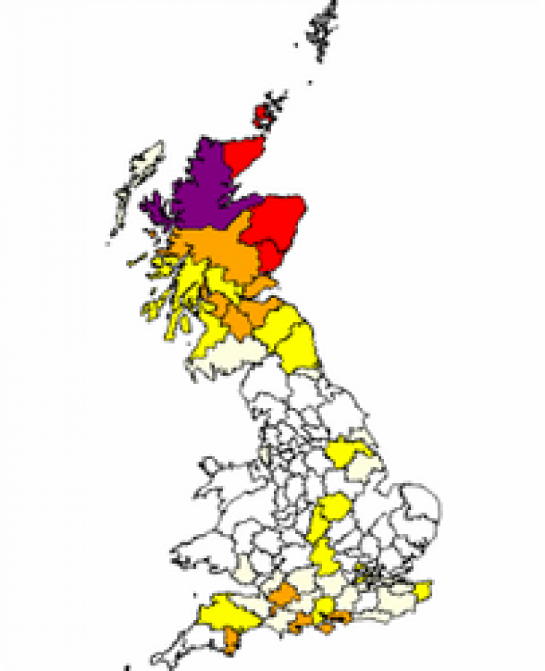 Distribution of the surname 'Grant' in 1881