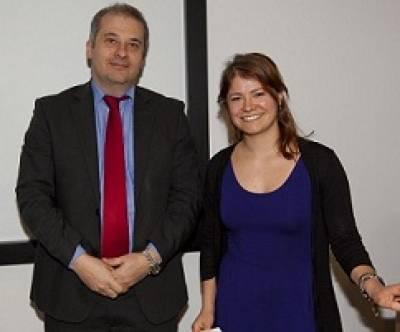 ION director Professor Michael Hanna with MSc poster prize winner, Anne Urai