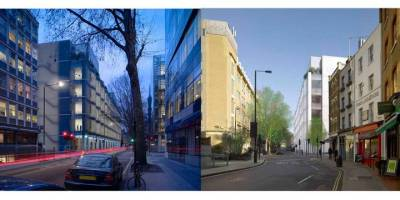 The proposed building (views from Howland Street at dusk and New Cavendish Street)
