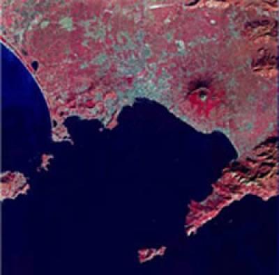 An aerial photgraph, taken by satellite, of Mount Vesuvius