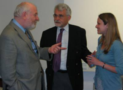 Professor A R Lieberman, Dean of the Faculty of Life Sciences, Professor K M Spyer, Vice-Provost and Dean of the Medical School, and Sarah Eisen