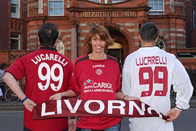 Livorno fans queue on Gower Street
