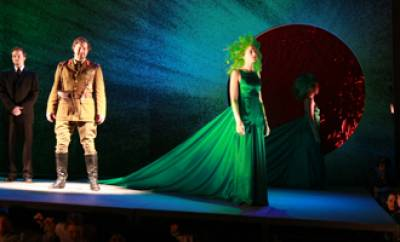 Macbeth and one of the three witches
