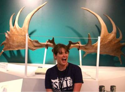 Gemma Bale photographed in front of moose antlers