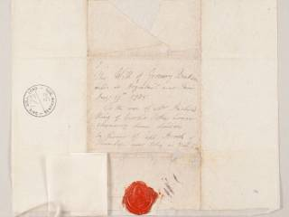 Envelop and seal of Jeremy Bentham will of 1758