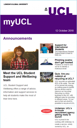 MyUCL newsletter screenshot - 12 Oct 18