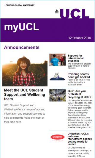 MyUCL newsletter screenshot - 12 Oct 18