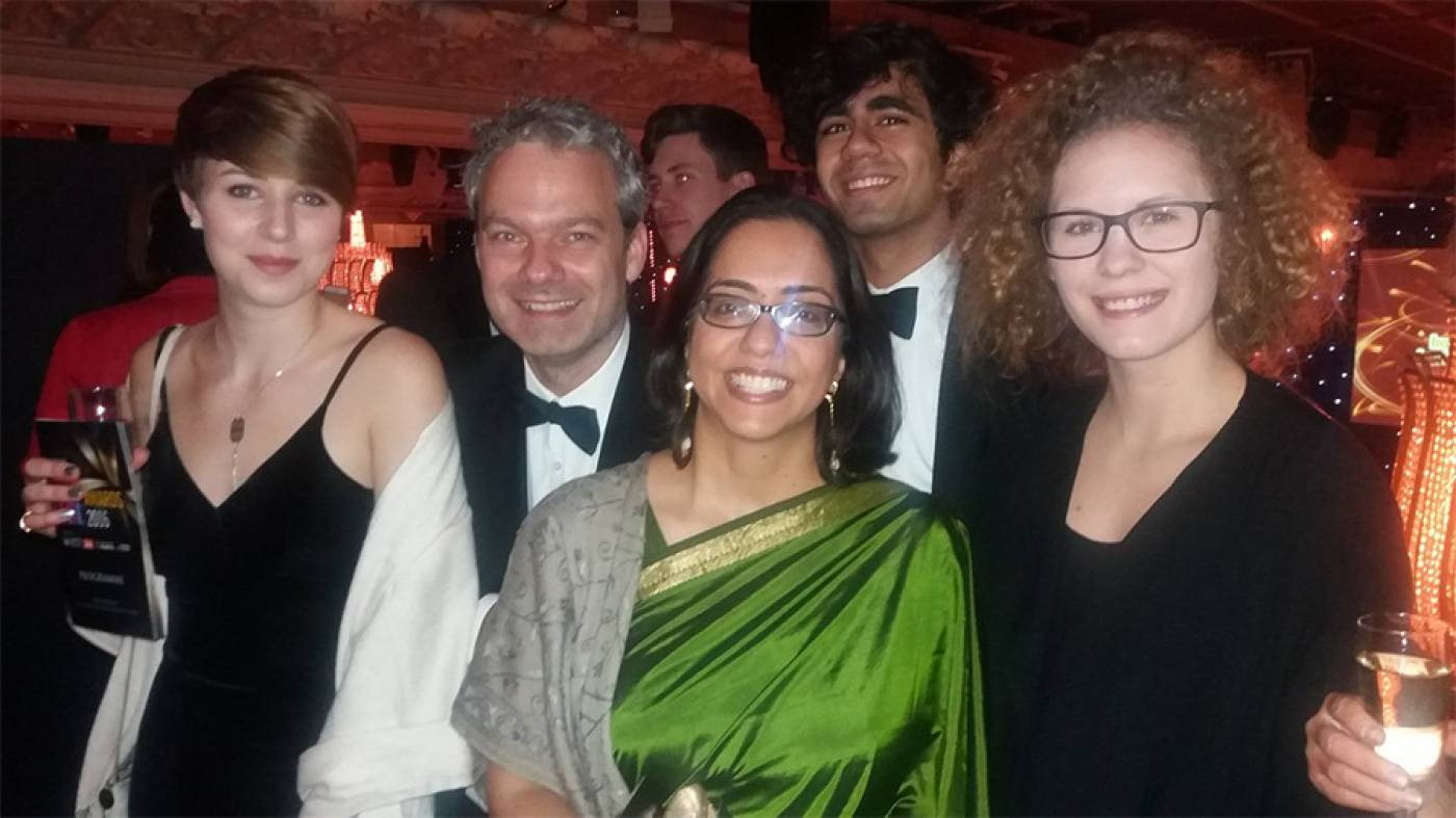 Christian and Parama (second and third from left) at the THE Awards