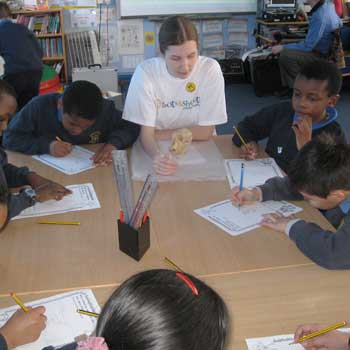 UCL student volunteer at St Michael's C of E School