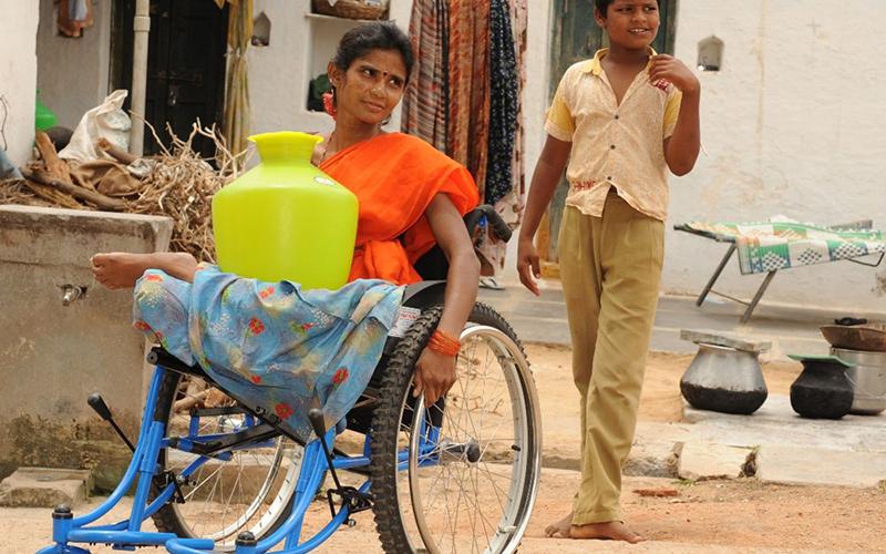 woman using a wheelchair in Delhi