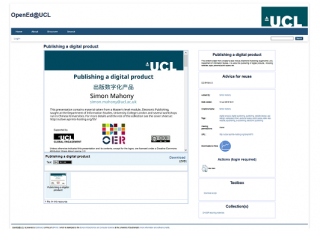 Screenshot of the UCL OER repository