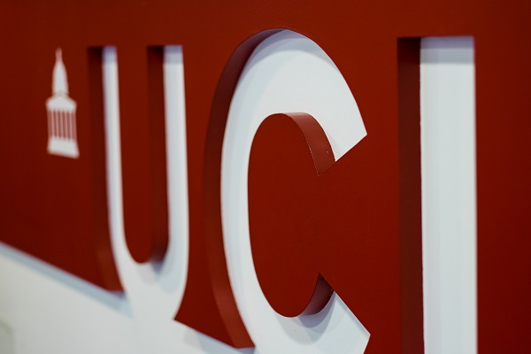 Picture of UCL logo on a wall in Chandler House