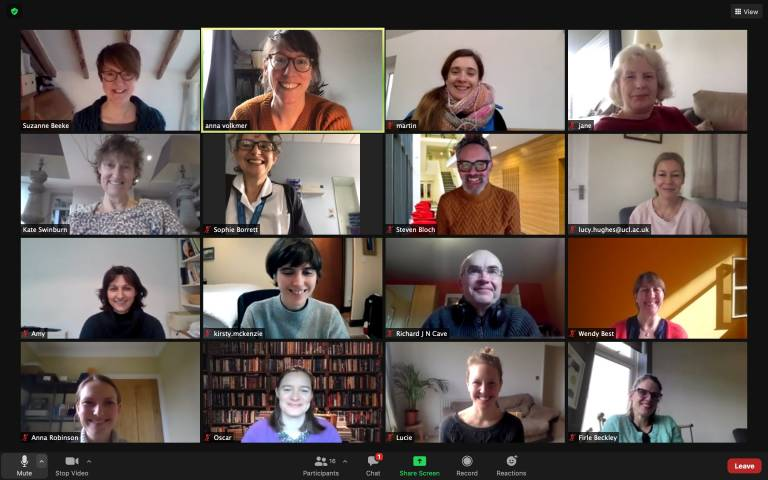 Picture of the Better Conversations Lab having a Zoom meeting. Small pictures of several of the team members can be seen.