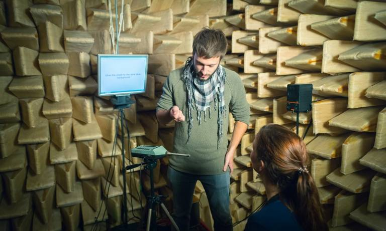 Photo of experiment taking place in an anechoic chamber