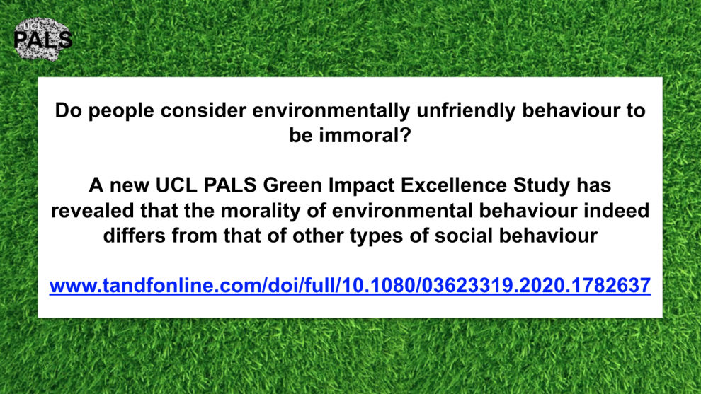 new UCL PALS Green Impact Excellence Study