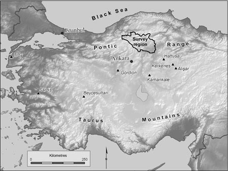 Map of Turkey showing Paphlagonia survey region