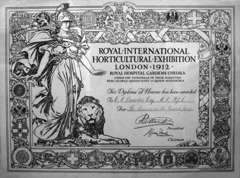 E.A. Bowles' RHS Chelsea Diploma Certificate 1912