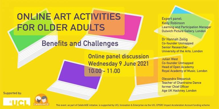 CelebrAGE event: Online panel discussion on the benefits and challenges of online art activities for older adults