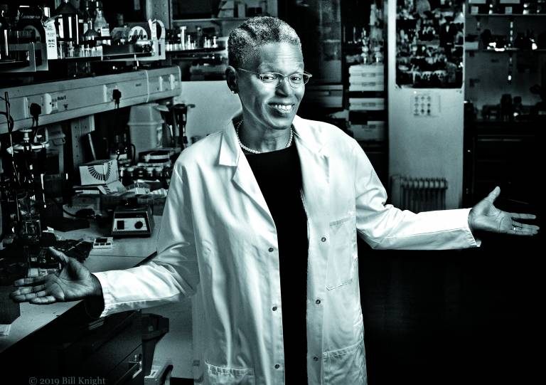 Professor Ijeoma Uchegbu in her laboratory. Photo by Bill Knight.
