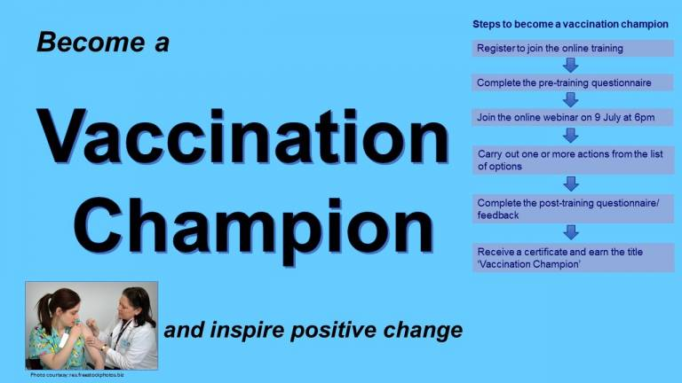 Graphic that explains the steps on how to become a vaccine champion