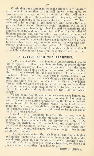 Square Chronicle: 'Letter from the President', 1915
