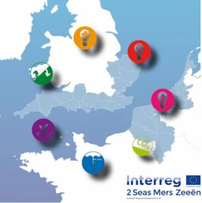 Interreg 2 Seas logo with map showing the participating countries