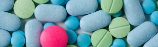 Pink, blue and green tablets