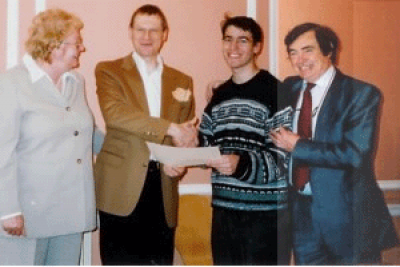 Winner Gabriel Citron with Professor Jo Wolff with Paul and Cathy Murphy