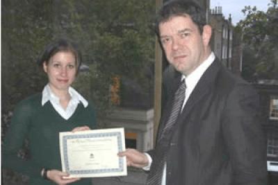 Professor Tim Crane and winner Katherine Brooks