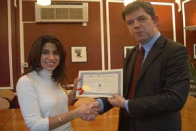 Professor Tim Crane and winner Eysha Sethi