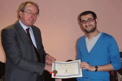 Grote Professor Paul Snowdon and winner Joshua Seigal