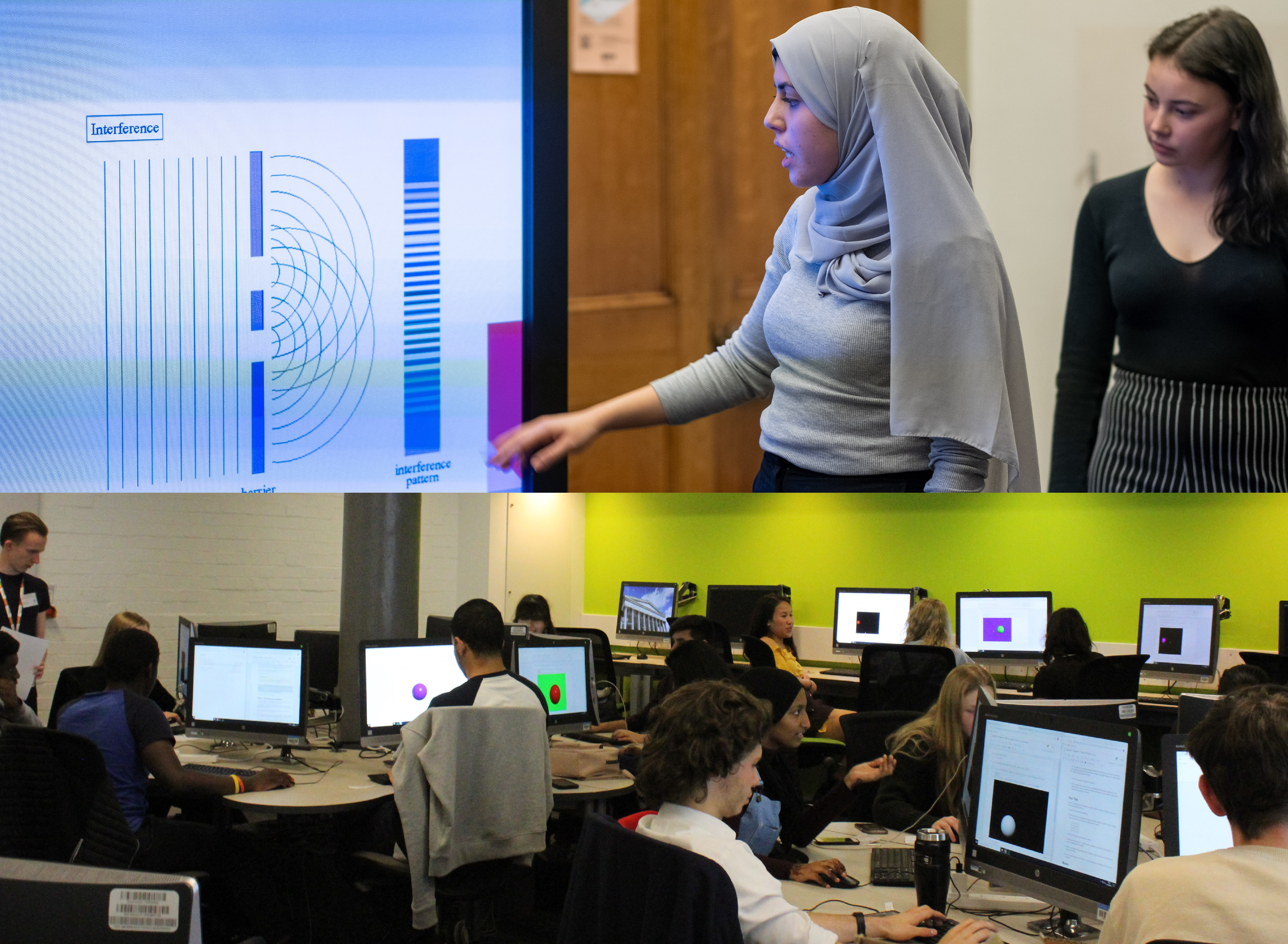 Split image, top half a course participant presenting their work, bottom half course participants working in a computer cluster.