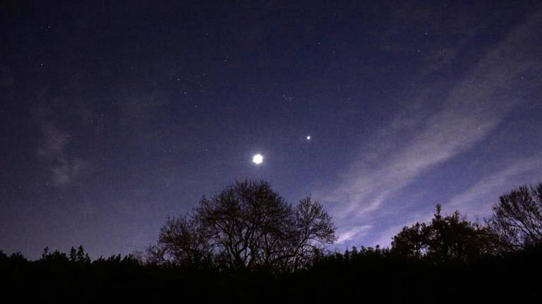 Moon Venus and Pleiades