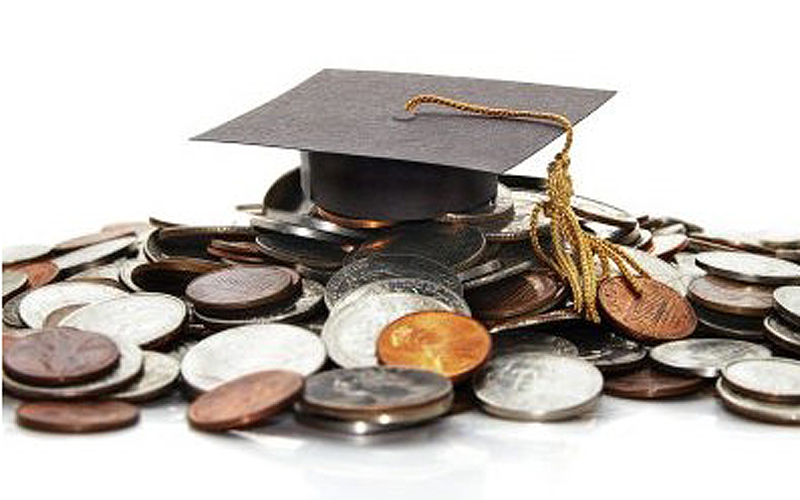 Mortar board and coins