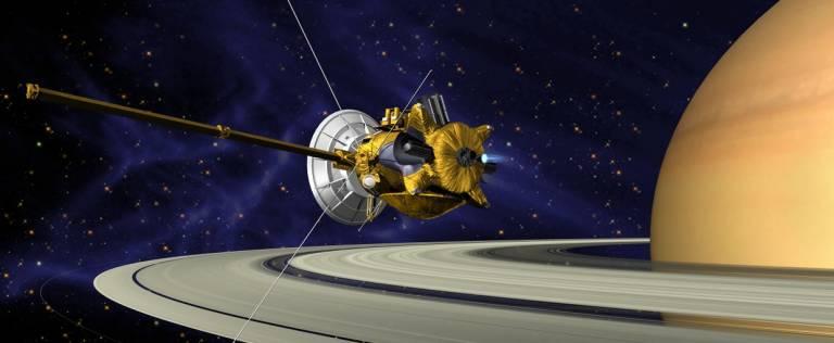 Artist's impression of Cassini in orbit at Saturn