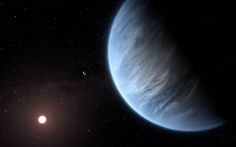 Exoplanet K2-18b (artist's Impression) showing the planet, its host star and an accompanying planet in this system. Credit: ESA/Hubble, M. Kornmesser