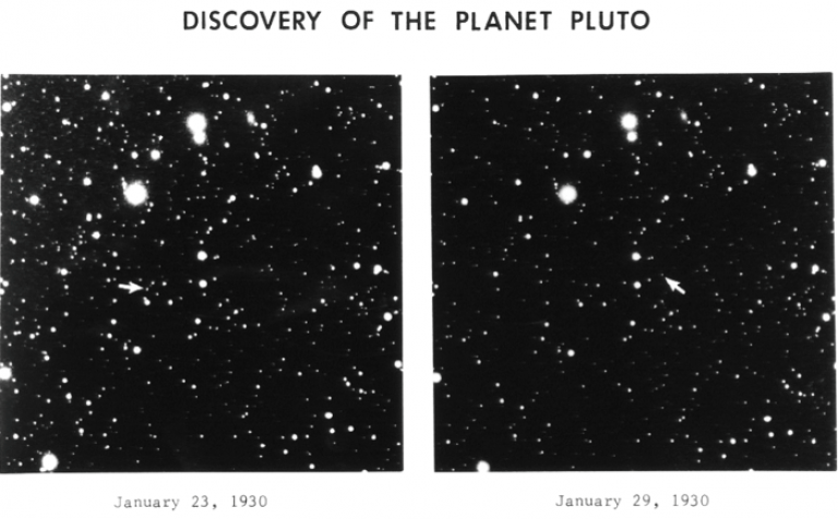 Original plates from Clyde Tombaugh's discovery of Pluto (apparent magnitude +15.1). Credit: Lowell Observatory Archives via Wikipedia