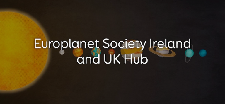 Illustration of Solar System planets from the Sun on the left to Neptune on the right on a black background, with the words Europlanet Society Ireland and UK Hub printed in white over the top