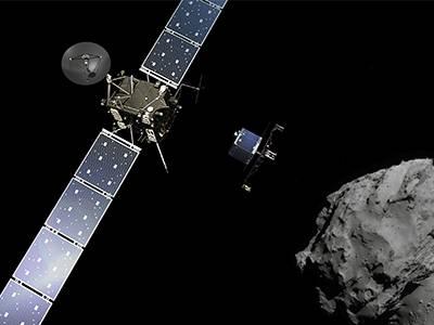 Rosetta mission: Deployment of the Philae lander to comet 67P/Churyumov-Gerasimenko. Credit: Comet image - ESA/Rosetta/NavCam; Composition: ESA/ATG medialab.