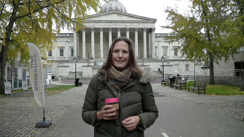Climate Emergency - Dr Helen Czerski outside the UCL Main Building Front Quad