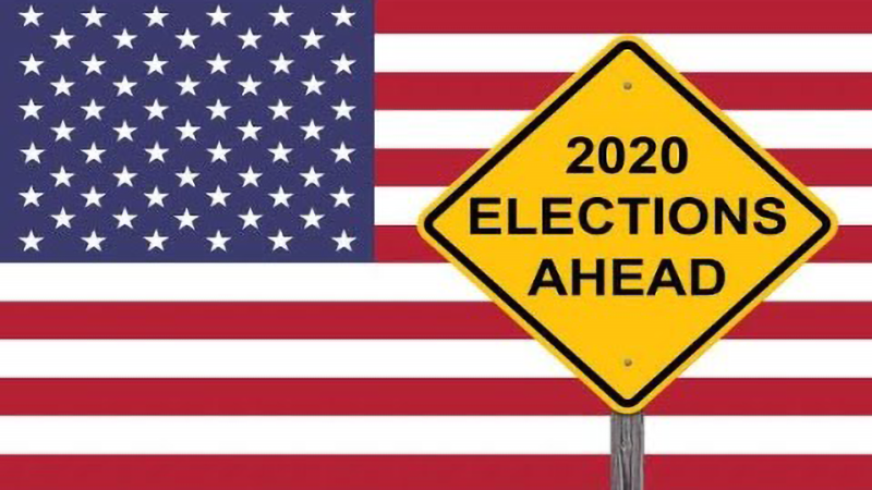 Illustration of USA flag with yellow road sign saying '2020 Elections Ahead'