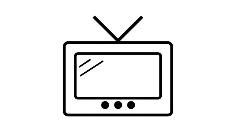 Television set icon - Black and White line drawing