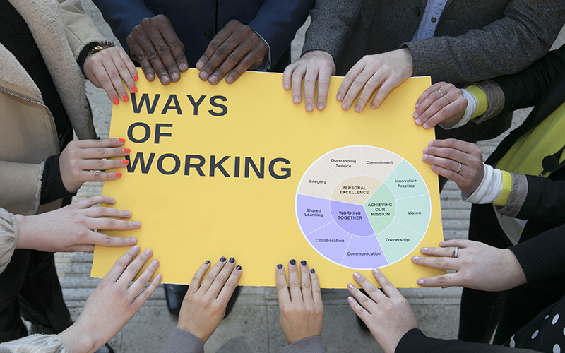 Photo of staff presenting the UCL Ways of Working