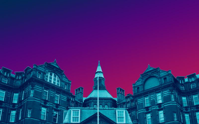 UCL campus building in purple