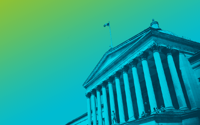 Green and blue image of UCL Portico building.